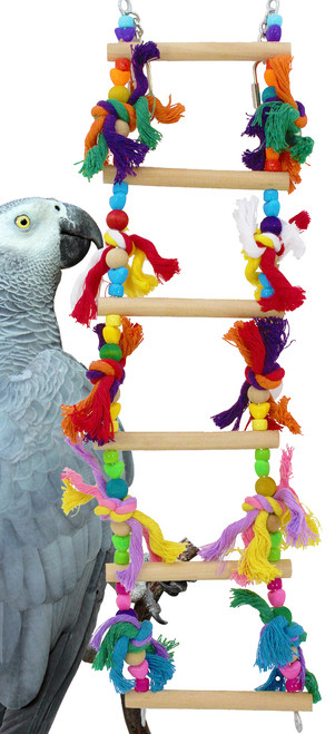 835 Six step ladder is a colorful and playful addition to get up and down in any cage, natural wood dowel rungs with colorful plastic and wood beads, colored tied soft cotton ropes adorn the sides.