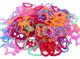 1314 Pk144 Hearts, Stars, and Flowers Colored Links that can be linked together to create a rope effect or added as a charm. The bag is filled with assorted blue, purple, red, yellow and green hearts, stars, and flowers
