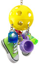1030 Sneaker pull bird toy is a fun, interactive toy for that medium-sized feathered friend in your family.