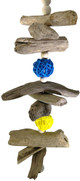 1071 Drift chew is an all-natural bird toy for those small to medium-sized feathered friends in your life. A plethora of natural chewing fun with drift wood pieces, colored vine balls, polished wooden beads, and it is finished out with a medium bell.