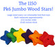 The 1150 Pk6 Jumbo Wood Stars from Bonka Bird Toys are colorful and large sized chewable bird foot toys. These stars have a wavy cut with interesting smooth sides.
