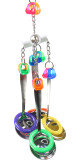 The 1432 Crazy Ladle from Bonka Bird Toys is a bird enticing colorful and durable medium sized toy. This bird toy has shiny  measuring ladles that stand out!