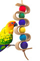 1419 Dnalien Leather Bird Toy is a colorful addition for your medium-sized feathered friend. Colorful, chewable wooden balls are interwoven with a leather strip and tied leather strands, he surely will love all the different colors and textures that this toy brings to the table.