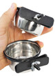 """Advance high quality, high carbon, non-magnetic stainless steel coop cups that are scratch resistant.  Bowls clamp securely to cages, kennels and outdoor pens.  Pack 2 - 5 oz/0.15 L   (2.75"""" diameter inside the bowl, 1.5"""" high)"""