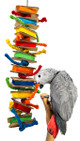 The 2158 Sisal Block Puller from Bonka Bird Toys is a long hanging center of pulling fun for your medium sized feathered friend! This bird toy is long and skinny.