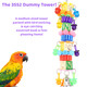 The 3552 Dummy Tower from Bonka Bird Toys is an astounding chewable and pullable medium sized bird toy! This uncannily colorful bird toy is packed with lots of items