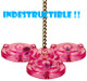 0009 Large Satellite is a colorful playful toy, the brightly colored main body is made up of four sections each containing a solid colored bead which makes a whirring sound when rattled.