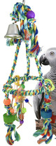 1013 Medium Pyramid. This colorful rope bird swing is full of fun charms for your small to medium sized feathered friend, they will find this swing irresistible.