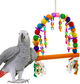 1060 Rainbow chain swing. A colorful plethora of colored, sanded beads of wood, plastic chain, soft cotton rope and bells.