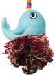 Light Blue color 1955 Bonka Bird Toys Moby plucker, your small to medium-sized feathered friends will have a whale of a time with this one, a great plucking and preening toy with a hidden bell inside the soft-colored, cotton rope ball.