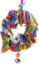 1109 Medium fuzz swing is an explosion of soft-colored cotton rope with plastic beads, leather tied dice and a bell. Your medium to large sized buddies will love to preen,