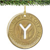 Porcelain NYC Subway Token Christmas Ornament