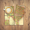Texas Coasters Set of 4 Vintage Map