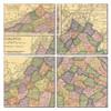 Virginia Map Coaster Set of 4