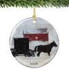 Amish Horse & Buggy Porcelain Amish Christmas Ornament