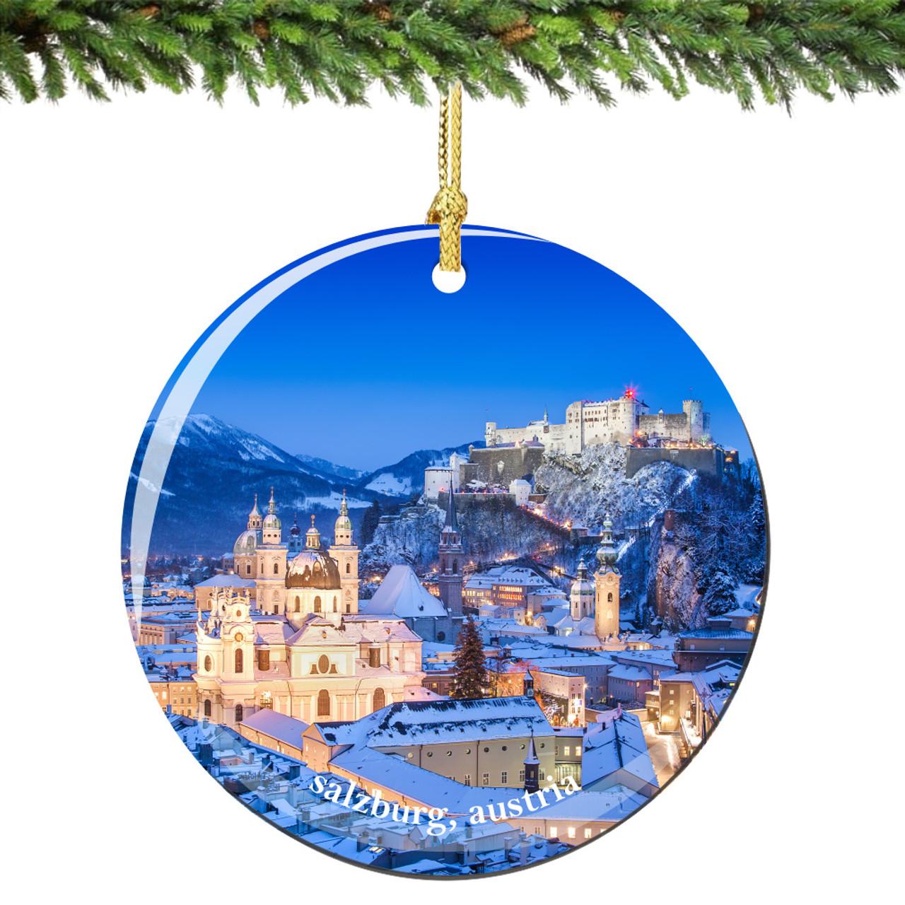 Austria gifts Austria ornament Salzburg ornament Vienna Christmas ornament Salzburg Austria Christmas ornament Vienna map ornament