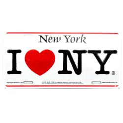 I Love NY license plate, aluminum, tin I Love NY car plate