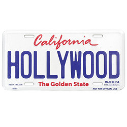 Embossed Tin Hollywood license plate