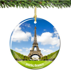 French Porcelain Paris Eiffel Tower Christmas Ornament