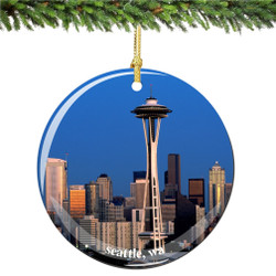 Porcelain Space Needle and Seattle Christmas Ornament