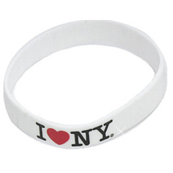 White I Love NY Rubber Bracelet