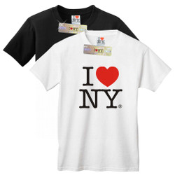 I Love NY T-Shirts in black and white, adult unisex 100% cotton I Love NY T-Shirt