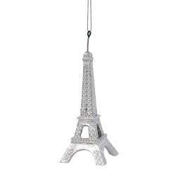 Silver Eiffel Tower Christmas Ornament