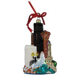 Chicago Christmas ornament of the Chicago skyline, glass ornament