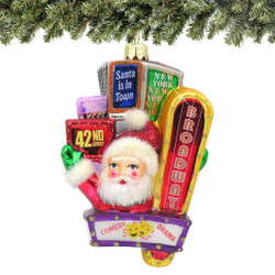 Glass Santa on Broadway Christmas Ornament