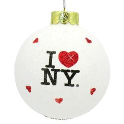 Glitter I Love NY Christmas Ornaments