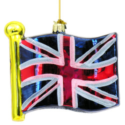 Glass British Union Jack Flag Christmas Ornament
