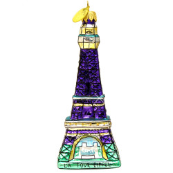 Glass Paris Eiffel Tower Chrstmas Ornament