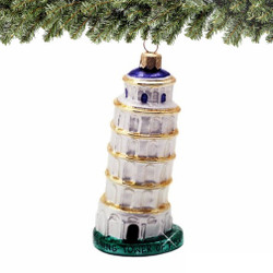 Italy Glass Leaning Tower of Pisa Christmas Ornament