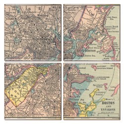 Boston Map Coaster Set of 4
