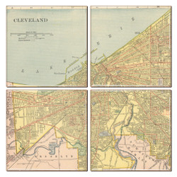 Cleveland Map Coaster Set of 4
