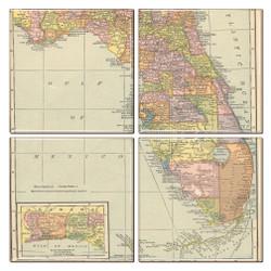 Florida Map Coaster Set of 4