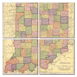 Indiana Map Coaster Set of 4