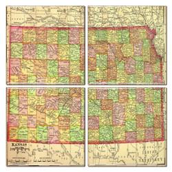 Kansas Map Coaster Set of 4