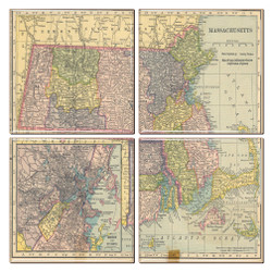 Massachusetts Map Coaster Set of 4