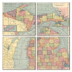 Michigan Map Coaster Set of 4