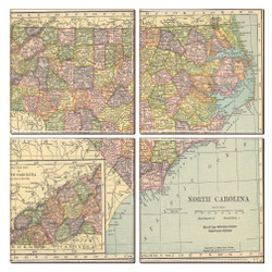 North Carolina Map Coaster Set of 4
