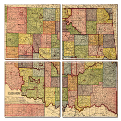 Oklahoma Map Coaster Set of 4