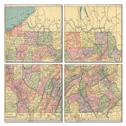 Pennsylvania Map Coaster Set of 4