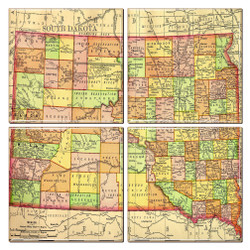 South Dakota Map Coaster Set of 4