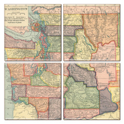 Washington State Map Coaster Set of 4