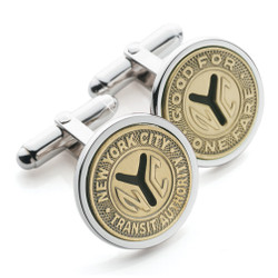Silver Token NYC Subway Cufflinks