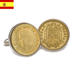Sterling Silver Peseta Coin Spanish Cufflinks
