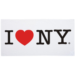 I Love NY Beach Towel Bath- White