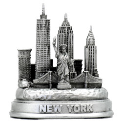 Silver 3D Skyline New York City Replica Model