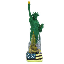 USA Flag base and Manhattan Skyline Statue of Liberty Replica Statues.